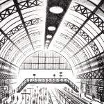 Another Arrival (King's Cross St Pancras Station) Etching 61 x 46 cm (24 x 18 inch) detail 3 Wychwood Art