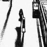 Arrival Alone – King's Cross St Pancras Station Etching 38 x 25 cm (15 x 10 inch) detail 1 Wychwood Art