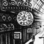 Arrival Alone – King's Cross St Pancras Station Etching 38 x 25 cm (15 x 10 inch) detail 2 Wychwood Art