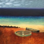 Boats & Groyne,Charlie Baird  oil on canvas 76x76cm