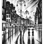 City Rain (The Strand, London WC2) Etching 56 x 38 cm (15 x 10 inch) Wychwood Art