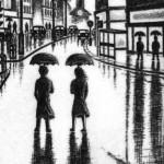 City Rain (The Strand, London WC2) Etching 56 x 38 cm (15 x 10 inch) detail 1 Wychwood Art