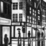 City Rain (The Strand, London WC2) Etching 56 x 38 cm (15 x 10 inch) detail 2 Wychwood Art
