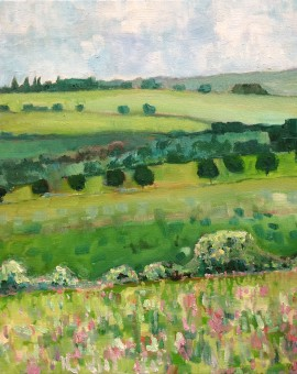 Eleanor-Woolley-_-A-view-from-Rollright-_-Landscape-_-Expressionistic