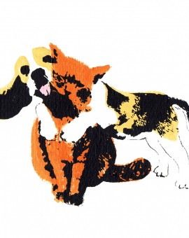 Hug_dog_cat_virtual_hug_screenprint_katie_edwards_illustration_art