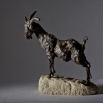 Jane Shaw On top of the world Mountain Goat Bronze Resin Sculpture Wychwood Art 1