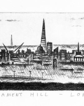 John Duffin Parliament Hill - London Limited Edition Etching 10.5 x 71 cm (4 x 28 inch) Wychwood Art