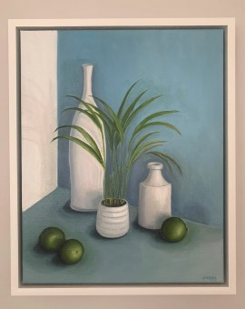Jonquil Williamson Pots with Limes and Plant in Frame Wychwood Art