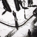 Night Time (Covent Garden Tube Station, London) Etching 38 x 25 cm (15 x 10 inch) detail 1 Wychwood Art