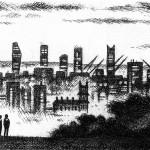 Parliament Hill – London Etching 10.5 x 71 cm (4 x 28 inch) detail 1 Wychwood Art