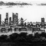Parliament Hill – London Etching 10.5 x 71 cm (4 x 28 inch) detail 2 Wychwood Art