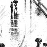 Regent Street Rain Etching 38 x 25 cm (15 x 10 inch) detail 1 Wychwood Art