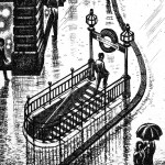 Regent Street Rain Etching 38 x 25 cm (15 x 10 inch) detail 2 Wychwood Art