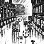 Regent Street Rain Etching 38 x 25 cm (15 x 10 inch) detail 3 Wychwood Art