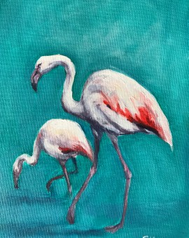 Sophie Harden Original Oil Fire Birds 1
