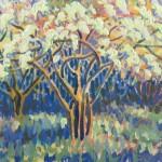 Spring Arboretum Original Painting by Rosemary Farrer detail 2