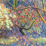 Spring Arboretum Original Painting by Rosemary Farrer detail 4