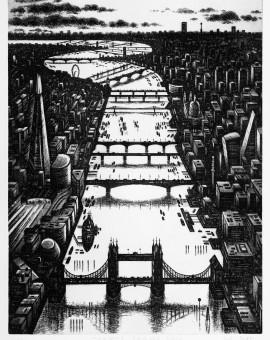 Thames Bridges Dusk Etching 61 x 46 cm (24 x 18 inch) Wychwood Art