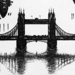 Thames Bridges Dusk Etching 61 x 46 cm (24 x 18 inch) detail 2 Wychwood Art