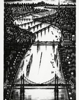 Thames Bridges - Looking East Etching 38 x 25 cm (15 x 10 inch)