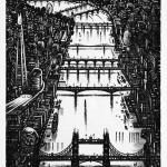 Thames Bridges – Looking West Etching 38 x 25 cm (15 x 10 inch) Wychwood Art