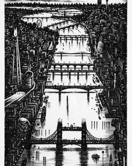 Thames Bridges - Looking West Etching 38 x 25 cm (15 x 10 inch) Wychwood Art