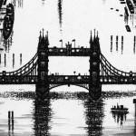 Thames Bridges – Looking West Etching 38 x 25 cm (15 x 10 inch) detail 1 Wychwood Art