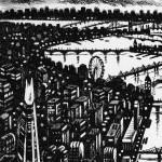Thames Bridges – Looking West Etching 38 x 25 cm (15 x 10 inch) detail 2 Wychwood Art