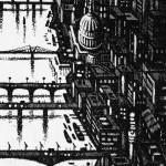 Thames Bridges – Looking West Etching 38 x 25 cm (15 x 10 inch) detail 3 Wychwood Art