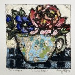 Vicky Oldfield, China Rose, Hand coloured collagraph print, Contemporary art a