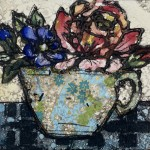 Vicky Oldfield, China Rose, Hand coloured collagraph print, Contemporary art b