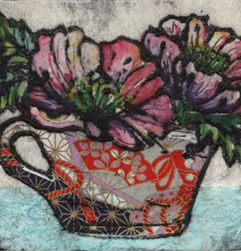Vicky Oldfield, Day Dreaming, Hand coloured collagraph print, Contemporary art