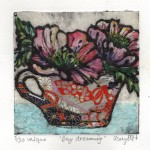Vicky Oldfield, Day Dreaming, Hand coloured collagraph print, Contemporary art a