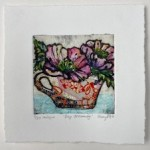 Vicky Oldfield, Day Dreaming, Hand coloured collagraph print, Contemporary art b