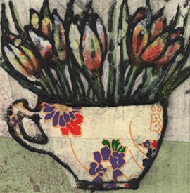 Vicky Oldfield, Spring Cup, Hand coloured collagraph print, Contemporary art