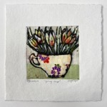 Vicky Oldfield, Spring Cup, Hand coloured collagraph print, Contemporary art a