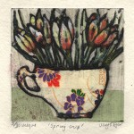 Vicky Oldfield, Spring Cup, Hand coloured collagraph print, Contemporary art b