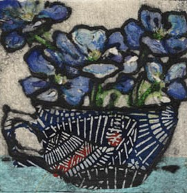 Vicky Oldfield, Spring Delicacy, Hand coloured collagraph print, Contemporary art