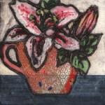 Vicky Oldfield, Stargazer, Hand coloured collagraph print, Contemporary art