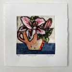 Vicky Oldfield, Stargazer, Hand coloured collagraph print, Contemporary art b