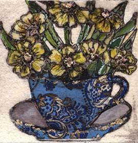 Vicky Oldfield, Teacups and Flowers, Hand coloured collagraph print, Contemporary art