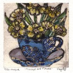 Vicky Oldfield, Teacups and Flowers, Hand coloured collagraph print, Contemporary art a