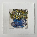 Vicky Oldfield, Teacups and Flowers, Hand coloured collagraph print, Contemporary art b