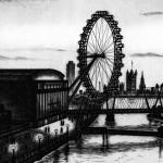 Waterloo Bridge Sunset etching 24 x 42 cm (9.5 x 16 inch) detail 1 Wychwood Art