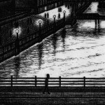 Waterloo Bridge Sunset etching 24 x 42 cm (9.5 x 16 inch) detail 3 Wychwood Art