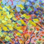 Yellow Maple Original Painting by Rosemary Farrer detail 1