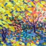 Yellow Maple Original Painting by Rosemary Farrer detail 2