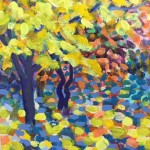 Yellow Maple Original Painting by Rosemary Farrer detail 3