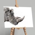 rhino on easel