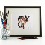 running hare in frame with brushes
